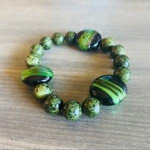 Green Beaded Bracelet Handmade